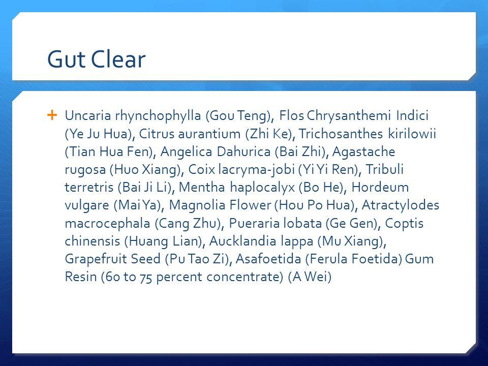 Gut Clear  Uncaria rhynchophylla (Gou Teng), Flos Chrysanthemi Indici (Ye Ju Hua), Citrus aurantium (Zhi Ke), Trichosanthes kirilowii (Tian Hua Fen),