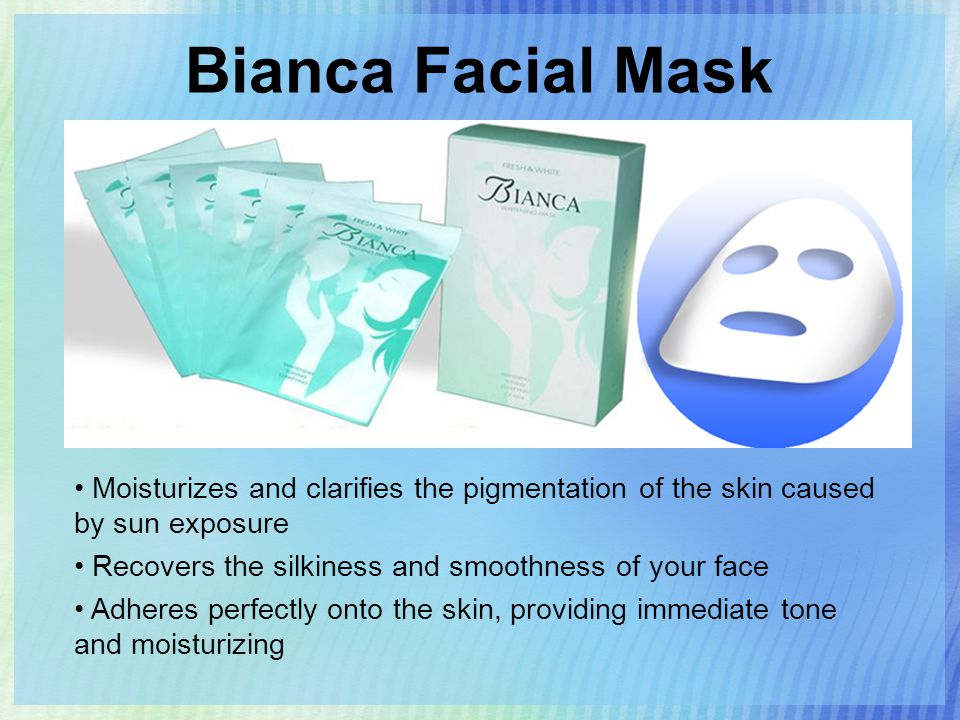 Bianca Facial Mask Moisturizes and clarifies the pigmentation of the skin caused by sun exposure Recovers the silkiness and smoothness of your face Adheres perfectly onto the skin, providing immediate tone and moisturizing