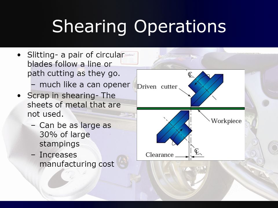 Shearing Operations Slitting- a pair of circular blades follow a line or path cutting as they go. –much like a can opener Scrap in shearing- The sheet