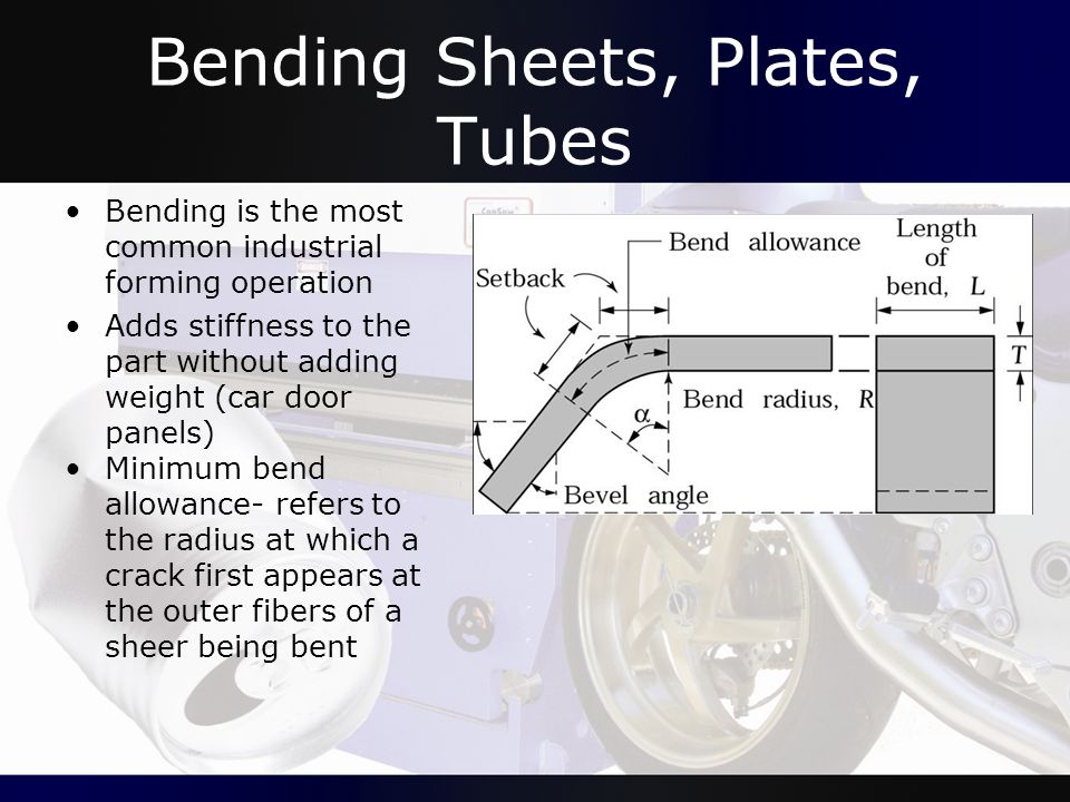 Bending Sheets, Plates, Tubes Bending is the most common industrial forming operation Adds stiffness to the part without adding weight (car door panel