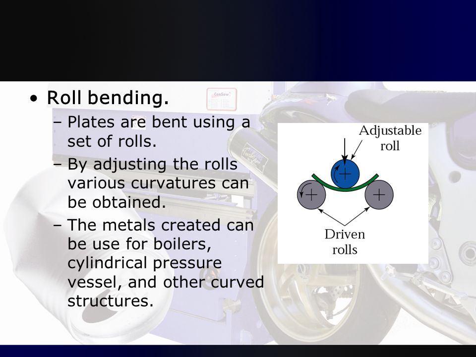 Roll bending. –Plates are bent using a set of rolls. –By adjusting the rolls various curvatures can be obtained. –The metals created can be use for bo
