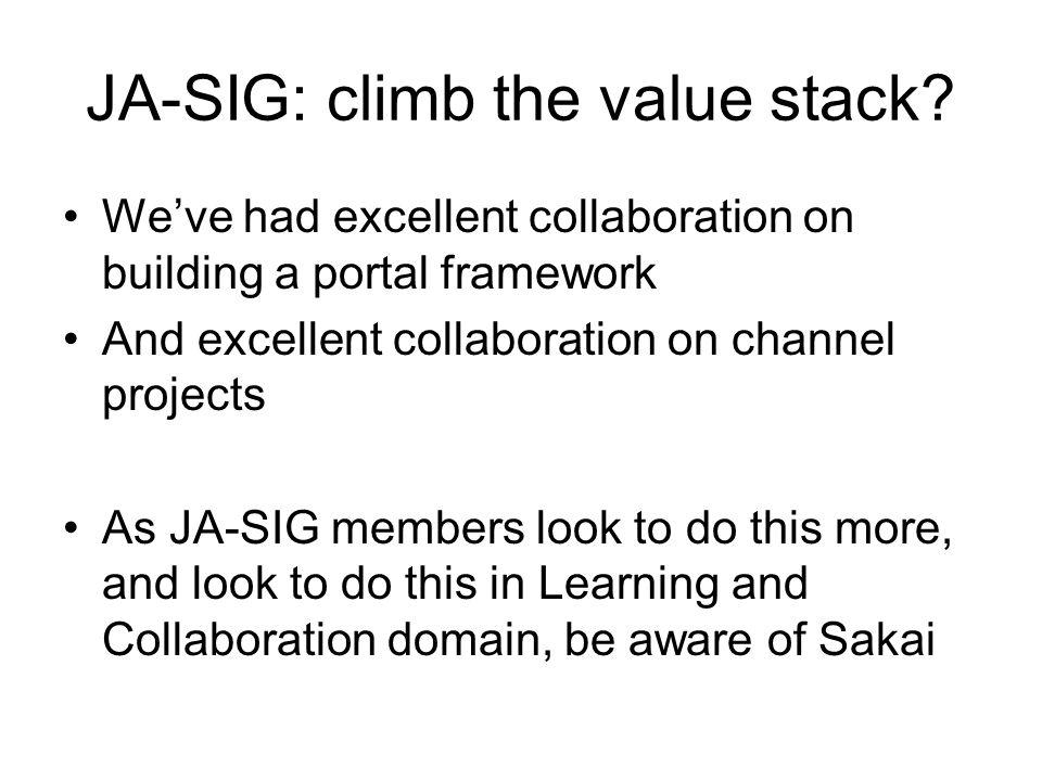 JA-SIG: climb the value stack? We've had excellent collaboration on building a portal framework And excellent collaboration on channel projects As JA-