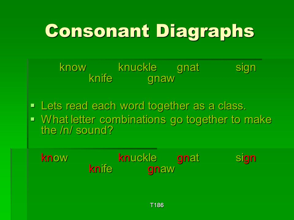 T186 Consonant Diagraphs wrigglewrongwrapwrestle wrigglewrongwrapwrestle  Lets read each word together as a class.