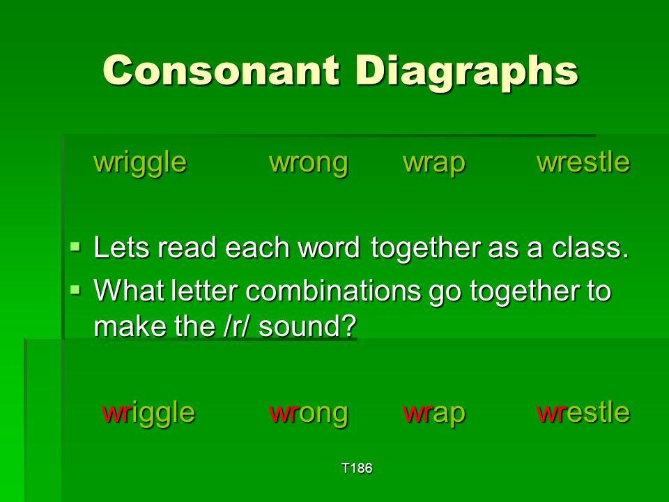 T186 Consonant Diagraphs roughtoughlaughcough  Lets read each word together as a class.