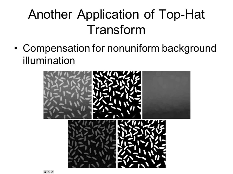 Another Application of Top-Hat Transform Compensation for nonuniform background illumination