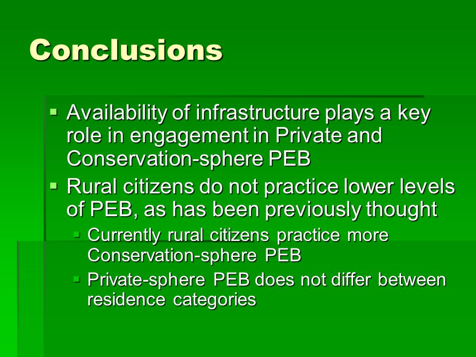 Conclusions  Availability of infrastructure plays a key role in engagement in Private and Conservation-sphere PEB  Rural citizens do not practice lower levels of PEB, as has been previously thought  Currently rural citizens practice more Conservation-sphere PEB  Private-sphere PEB does not differ between residence categories