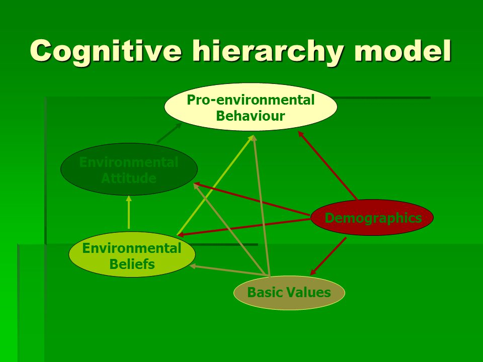 Cognitive hierarchy model Pro-environmental Behaviour Environmental Attitude Environmental Beliefs Demographics Basic Values