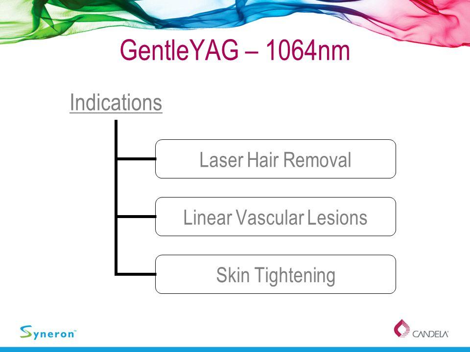 GentleYAG – 1064nm Indications Laser Hair Removal Linear Vascular Lesions Skin Tightening