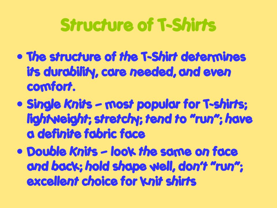 Structure of T-Shirts The structure of the T-Shirt determines its durability, care needed, and even comfort.