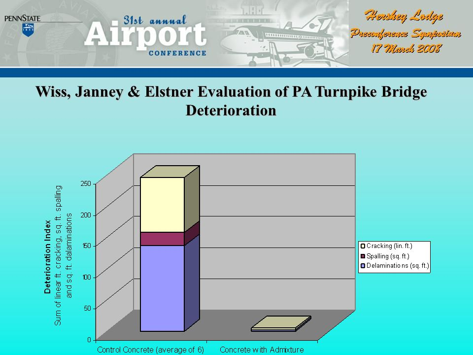 * seven structures in 5 mile stretch; 6 control and 1 with admixture * AES modified placed 1973; 6 control placed 1974 Pennsylvania Turnpike
