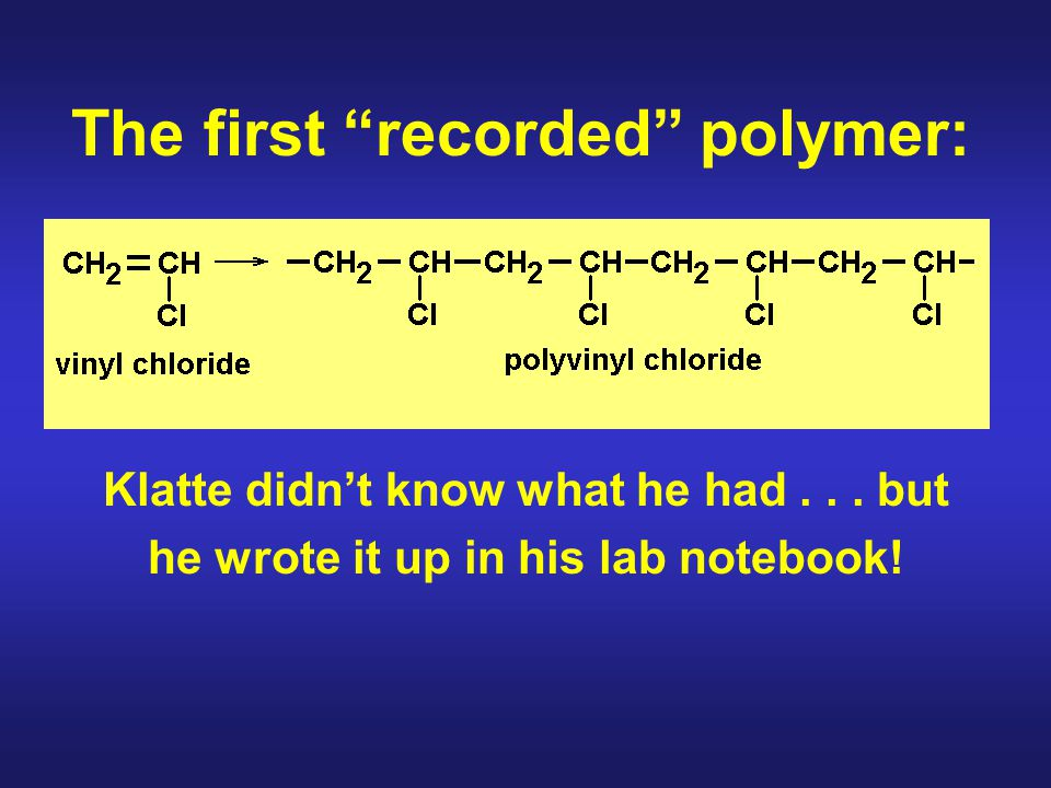 Some terms to remember: Addition (chain growth) polymer Condensation (step growth) polymer Thermoplastic polymer Thermosetting polymer Syndiotactic polymer Isotactic polymer Atactic polymer Co-polymers