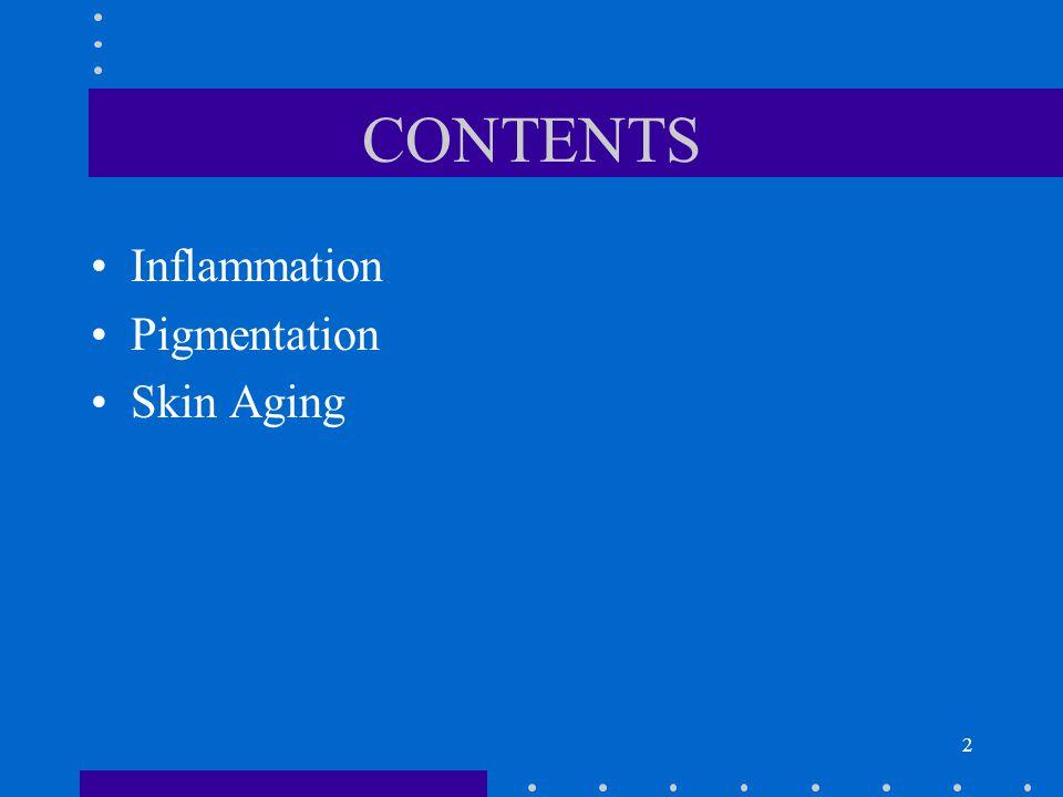 3 CONTENTS Inflammation –irritation –sensitization –biochemistry Pigmentation Skin Aging