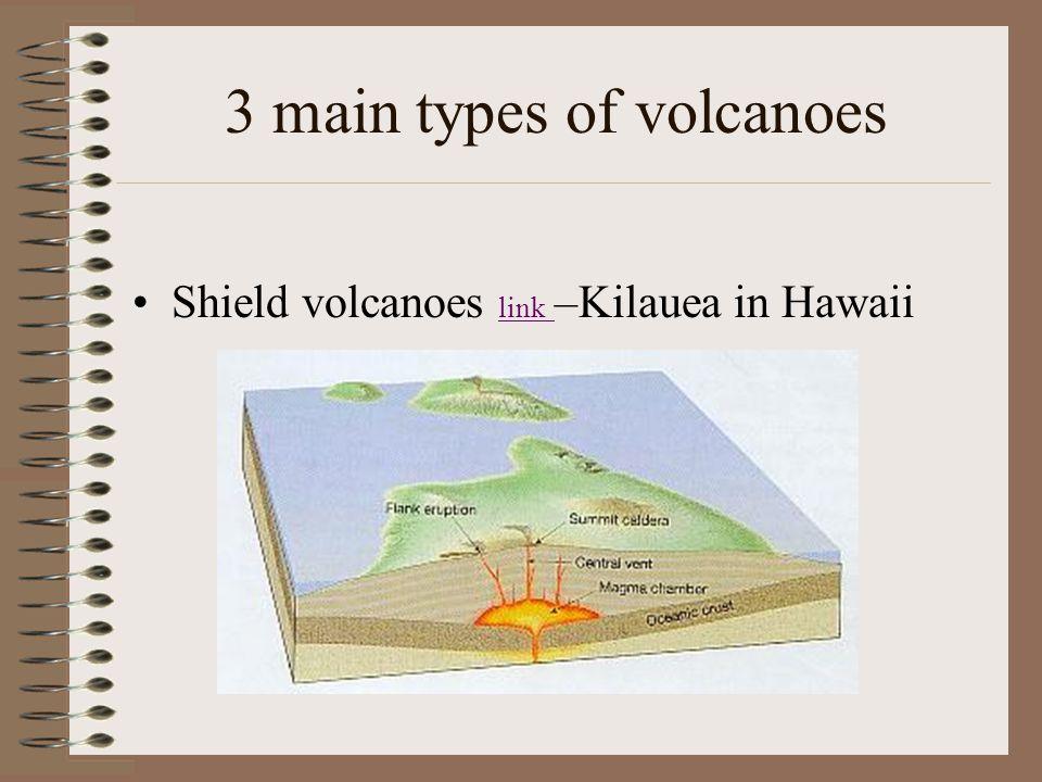 3 main types of volcanoes Shield volcanoes link –Kilauea in Hawaii link