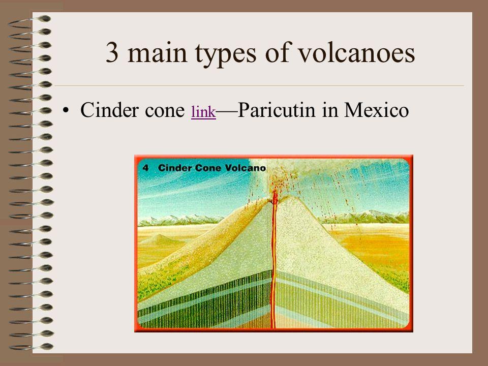 3 main types of volcanoes Cinder cone link —Paricutin in Mexico link