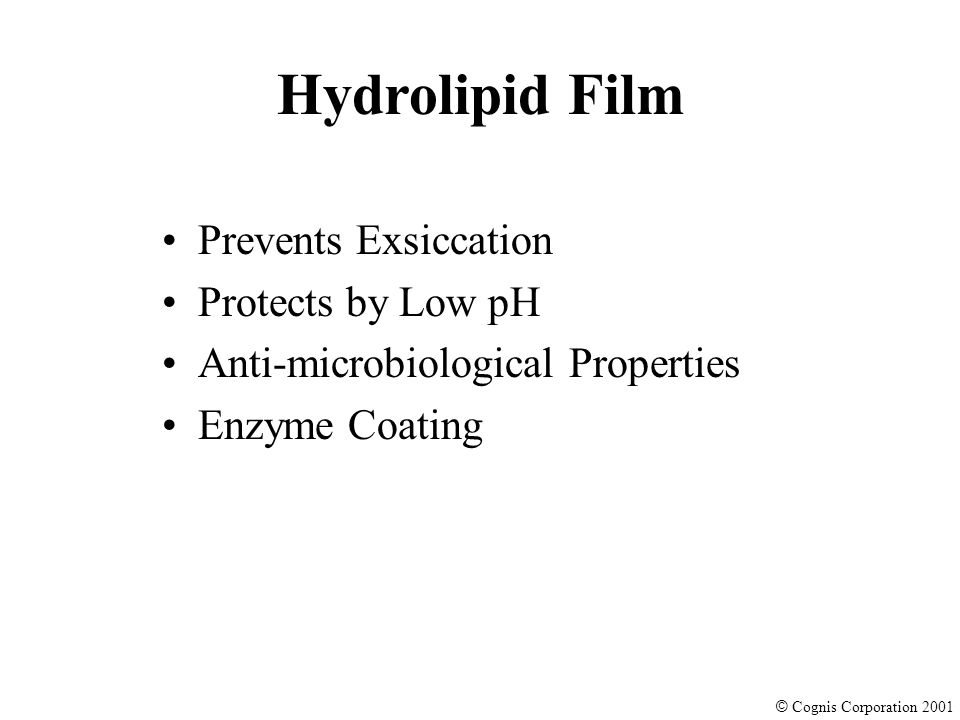 © Cognis Corporation 2001 Prevents Exsiccation Protects by Low pH Anti-microbiological Properties Enzyme Coating Hydrolipid Film