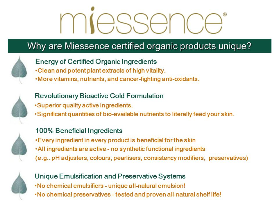 Why are Miessence certified organic products unique.