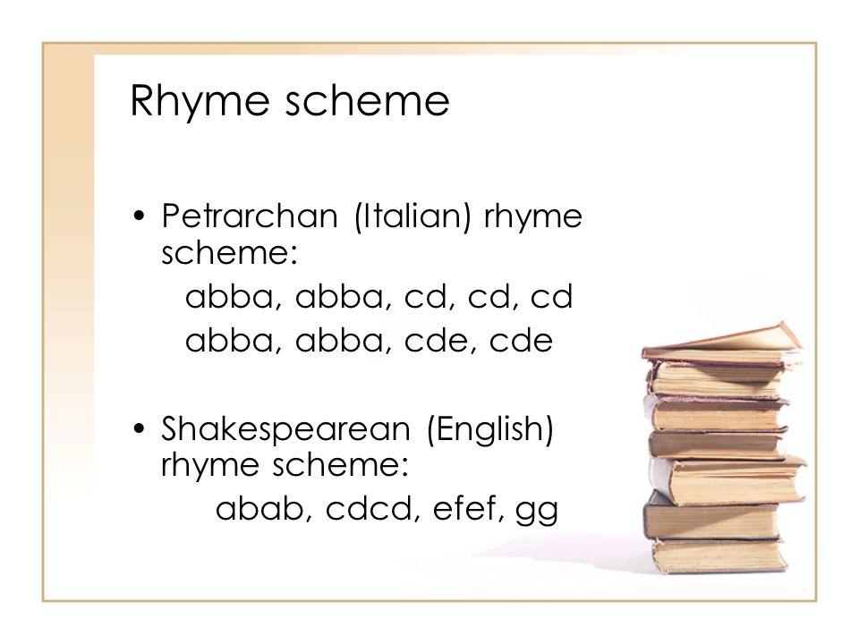 Rhyme scheme Petrarchan (Italian) rhyme scheme: abba, abba, cd, cd, cd abba, abba, cde, cde Shakespearean (English) rhyme scheme: abab, cdcd, efef, gg