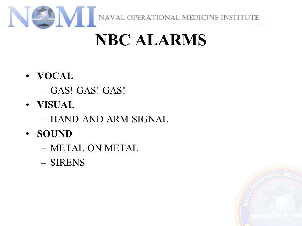 NBC ALARMS VOCAL –GAS! GAS! GAS! VISUAL –HAND AND ARM SIGNAL SOUND –METAL ON METAL –SIRENS