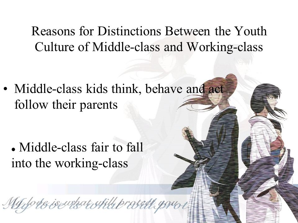 The Undeveloped Youth Culture of Middle-class youth Middle-class youth have very little leisure time The activities they have are preparations for the adult world Middle-class parents control their children, which limits their children ' s independence