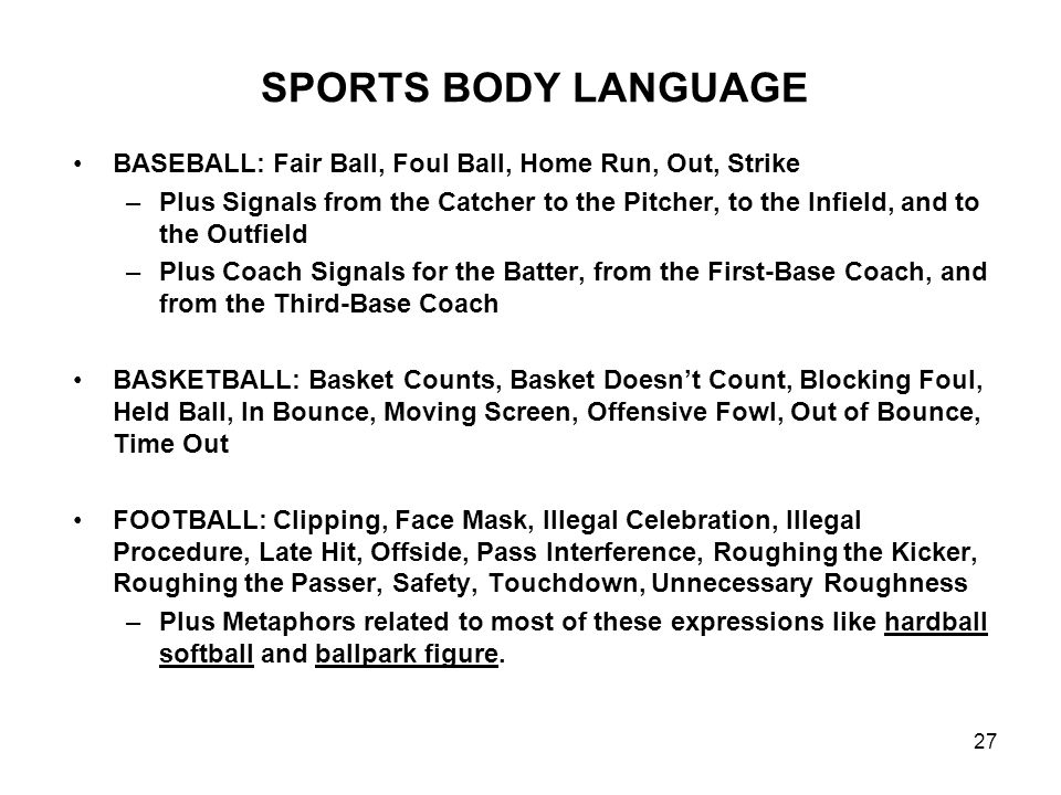 27 SPORTS BODY LANGUAGE BASEBALL: Fair Ball, Foul Ball, Home Run, Out, Strike –Plus Signals from the Catcher to the Pitcher, to the Infield, and to th