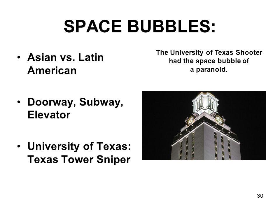 SPACE BUBBLES: Asian vs. Latin American Doorway, Subway, Elevator University of Texas: Texas Tower Sniper 30 The University of Texas Shooter had the s