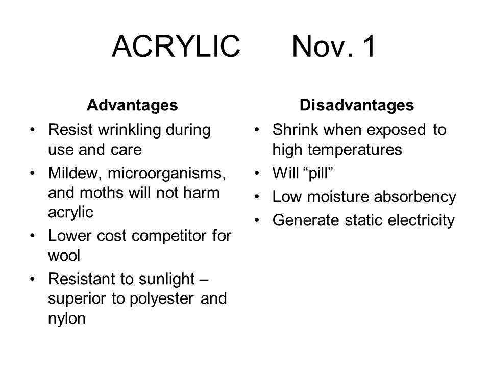 ACRYLIC Nov. 1 Advantages Resist wrinkling during use and care Mildew, microorganisms, and moths will not harm acrylic Lower cost competitor for wool