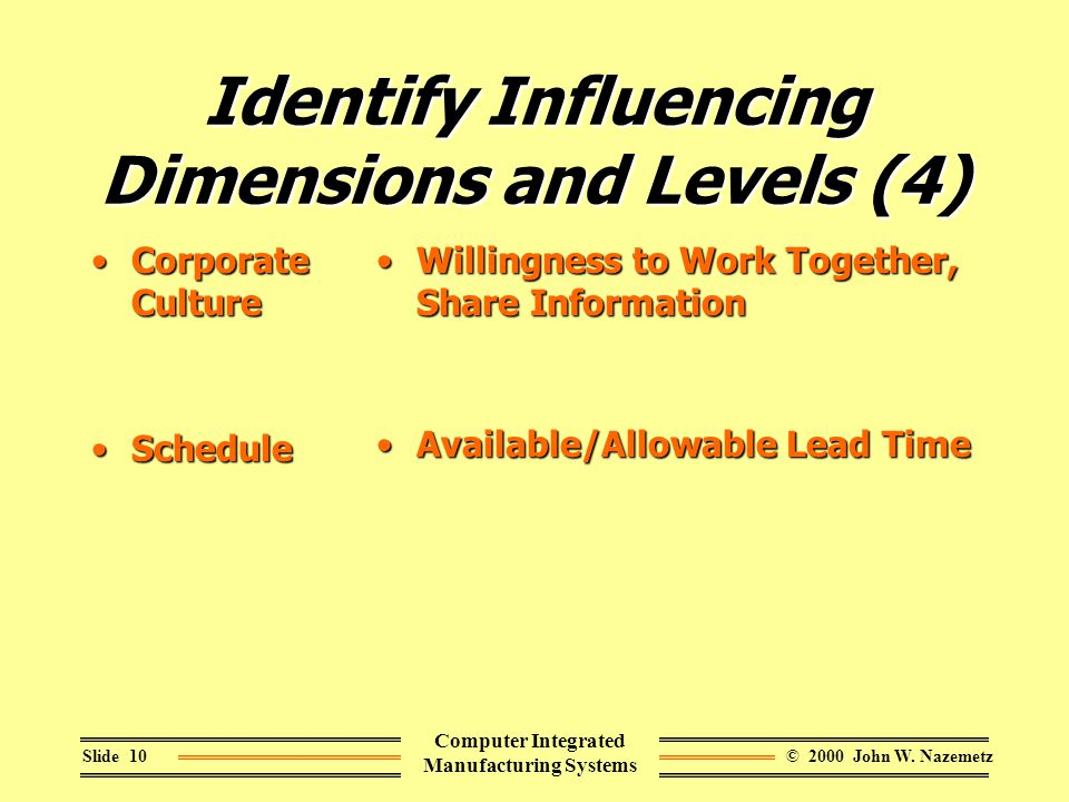 © 2000 John W. NazemetzSlide 10 Computer Integrated Manufacturing Systems Identify Influencing Dimensions and Levels (4) Corporate CultureCorporate Cu