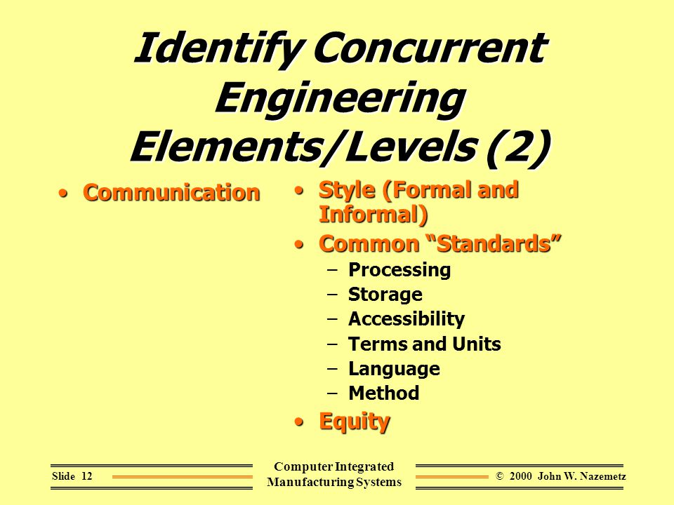 © 2000 John W. NazemetzSlide 12 Computer Integrated Manufacturing Systems Identify Concurrent Engineering Elements/Levels (2) CommunicationCommunicati