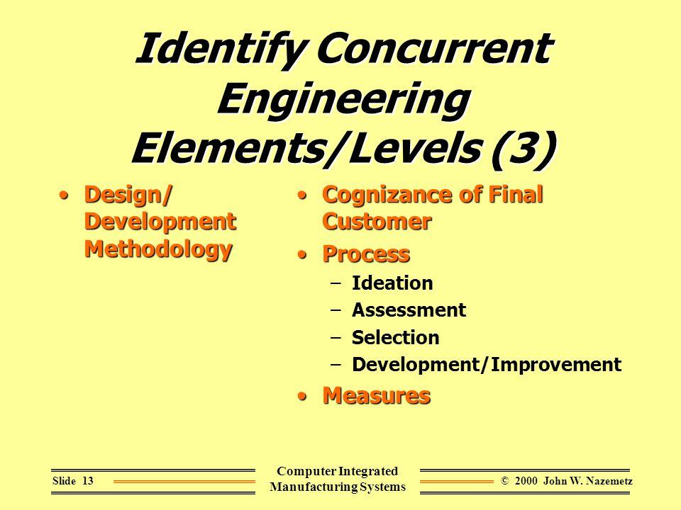 © 2000 John W. NazemetzSlide 13 Computer Integrated Manufacturing Systems Identify Concurrent Engineering Elements/Levels (3) Design/ Development Meth