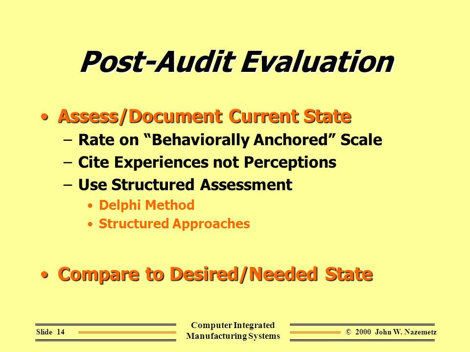 © 2000 John W. NazemetzSlide 14 Computer Integrated Manufacturing Systems Post-Audit Evaluation Assess/Document Current StateAssess/Document Current S