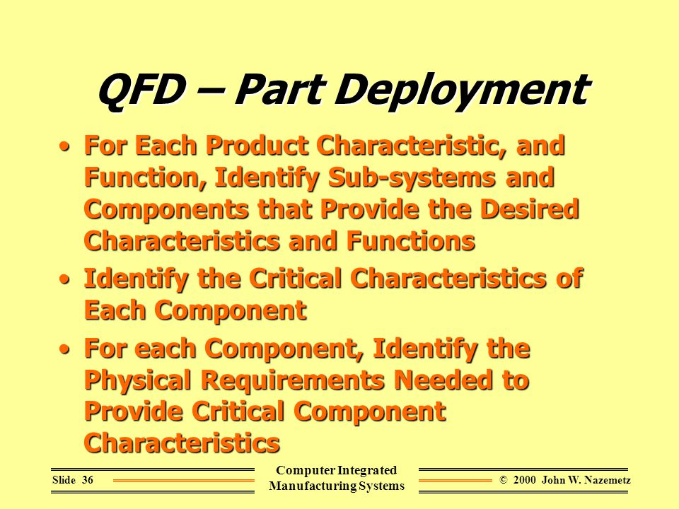 © 2000 John W. NazemetzSlide 36 Computer Integrated Manufacturing Systems QFD – Part Deployment For Each Product Characteristic, and Function, Identif
