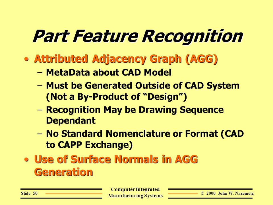 © 2000 John W. NazemetzSlide 50 Computer Integrated Manufacturing Systems Part Feature Recognition Attributed Adjacency Graph (AGG)Attributed Adjacenc