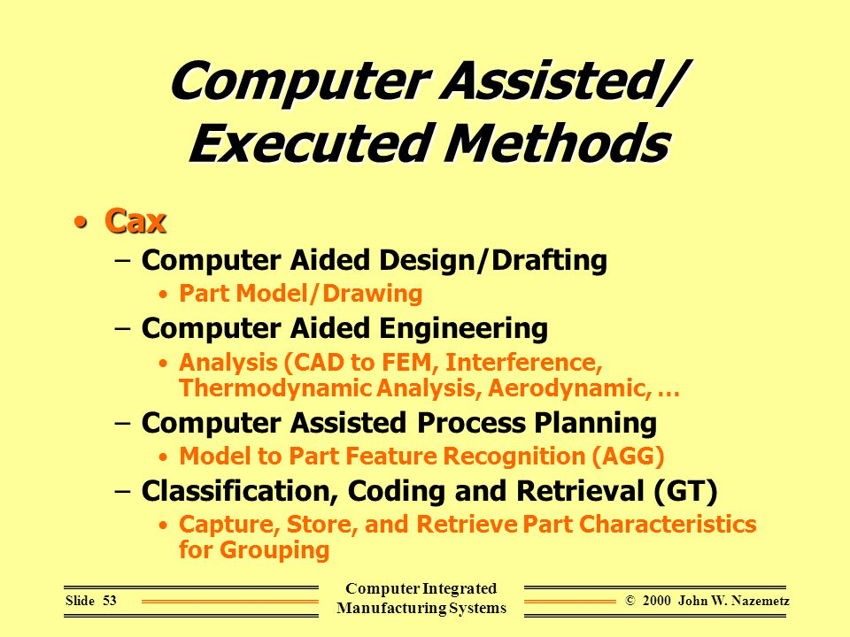 © 2000 John W. NazemetzSlide 53 Computer Integrated Manufacturing Systems Computer Assisted/ Executed Methods CaxCax –Computer Aided Design/Drafting P
