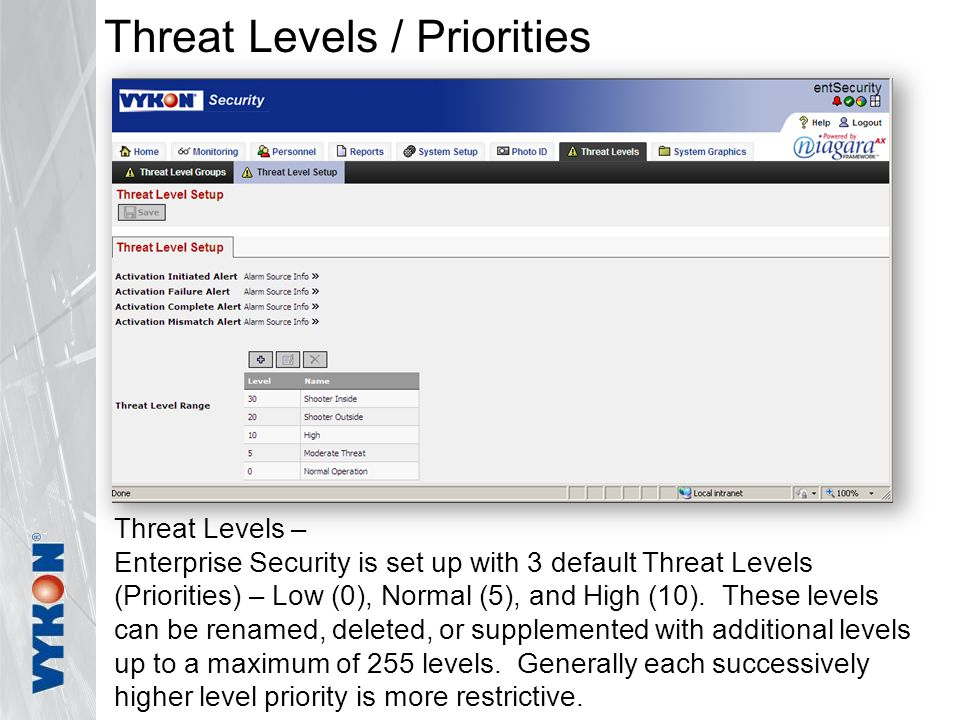 Threat Levels / Priorities Threat Levels – Enterprise Security is set up with 3 default Threat Levels (Priorities) – Low (0), Normal (5), and High (10).