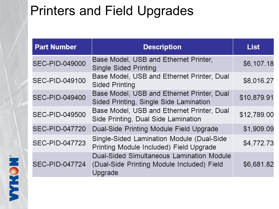 Printers and Field Upgrades Part NumberDescriptionList SEC-PID-049000 Base Model, USB and Ethernet Printer, Single Sided Printing $6,107.18 SEC-PID-049100 Base Model, USB and Ethernet Printer, Dual Sided Printing $8,016.27 SEC-PID-049400 Base Model, USB and Ethernet Printer, Dual Sided Printing, Single Side Lamination $10,879.91 SEC-PID-049500 Base Model, USB and Ethernet Printer, Dual Side Printing, Dual Side Lamination $12,789.00 SEC-PID-047720Dual-Side Printing Module Field Upgrade$1,909.09 SEC-PID-047723 Single-Sided Lamination Module (Dual-Side Printing Module Included) Field Upgrade $4,772.73 SEC-PID-047724 Dual-Sided Simultaneous Lamination Module (Dual-Side Printing Module Included) Field Upgrade $6,681.82