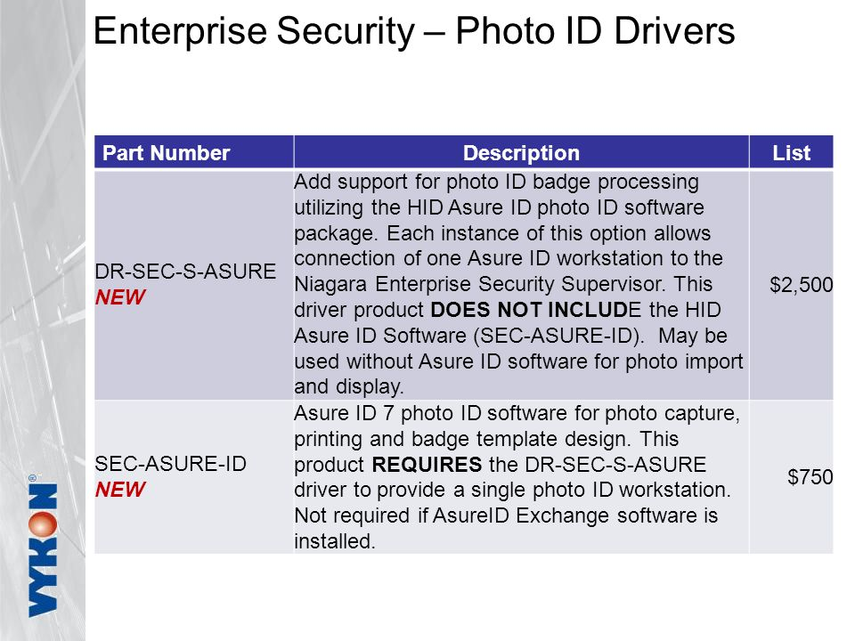 Enterprise Security – Photo ID Drivers Part NumberDescriptionList DR-SEC-S-ASURE NEW Add support for photo ID badge processing utilizing the HID Asure ID photo ID software package.