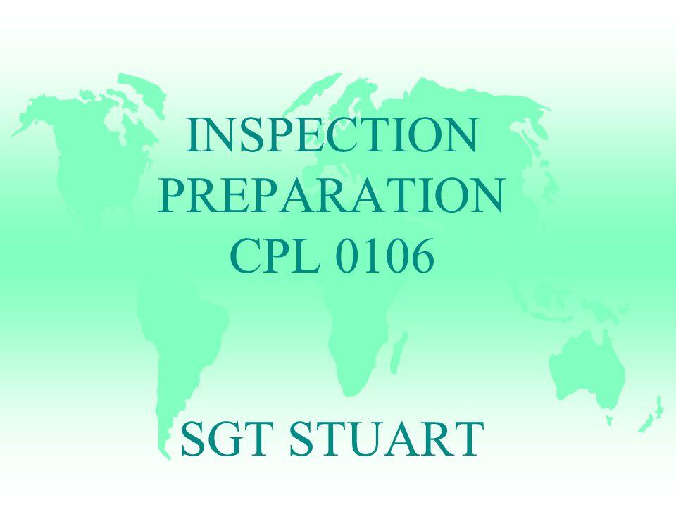 INSPECTION PREPARATION CPL 0106 SGT STUART