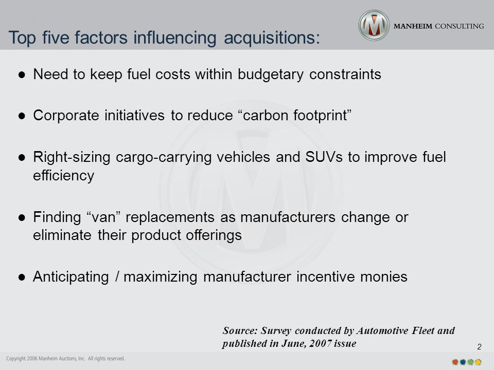2 Top five factors influencing acquisitions: Need to keep fuel costs within budgetary constraints Corporate initiatives to reduce carbon footprint Right-sizing cargo-carrying vehicles and SUVs to improve fuel efficiency Finding van replacements as manufacturers change or eliminate their product offerings Anticipating / maximizing manufacturer incentive monies Source: Survey conducted by Automotive Fleet and published in June, 2007 issue