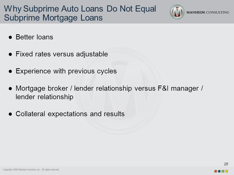 28 Why Subprime Auto Loans Do Not Equal Subprime Mortgage Loans Better loans Fixed rates versus adjustable Experience with previous cycles Mortgage broker / lender relationship versus F&I manager / lender relationship Collateral expectations and results