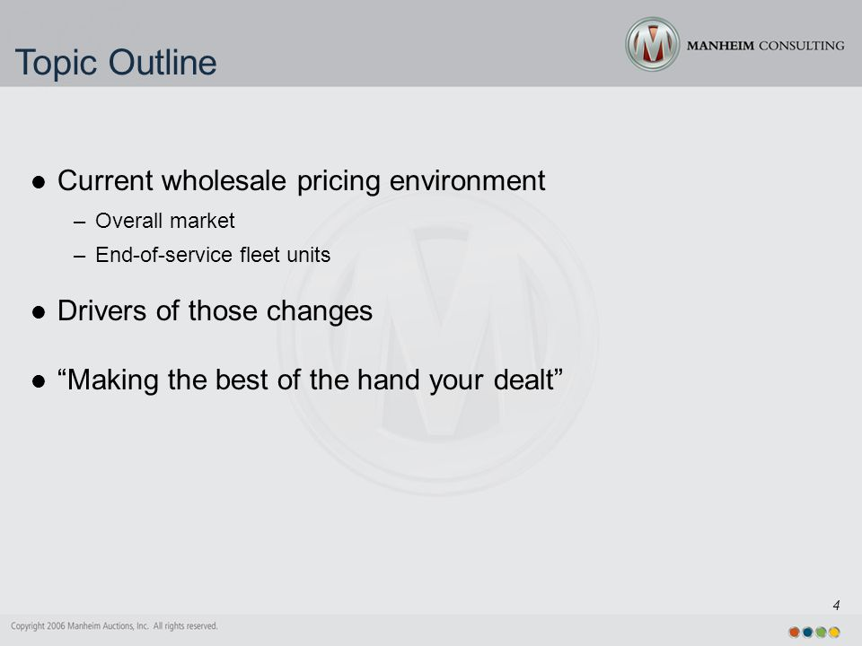 4 Topic Outline Current wholesale pricing environment –Overall market –End-of-service fleet units Drivers of those changes Making the best of the hand your dealt