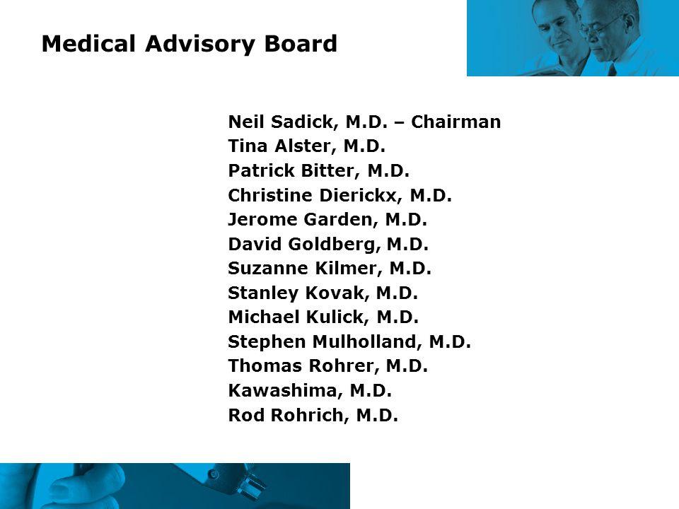 Medical Advisory Board Neil Sadick, M.D. – Chairman Tina Alster, M.D. Patrick Bitter, M.D. Christine Dierickx, M.D. Jerome Garden, M.D. David Goldberg