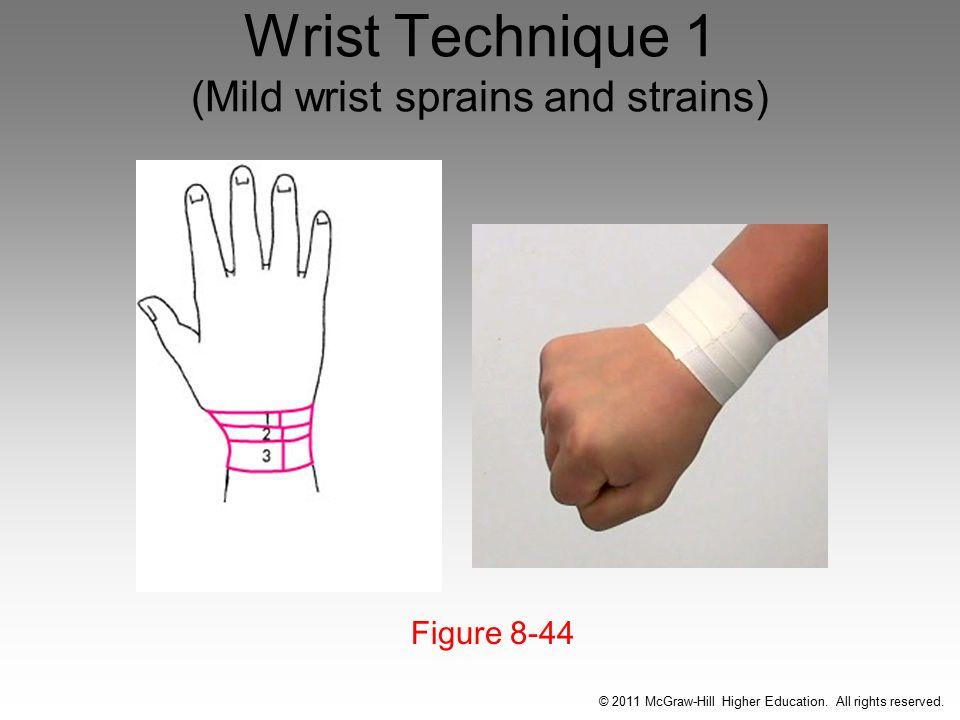Wrist Technique 1 (Mild wrist sprains and strains) Figure 8-44 © 2011 McGraw-Hill Higher Education.