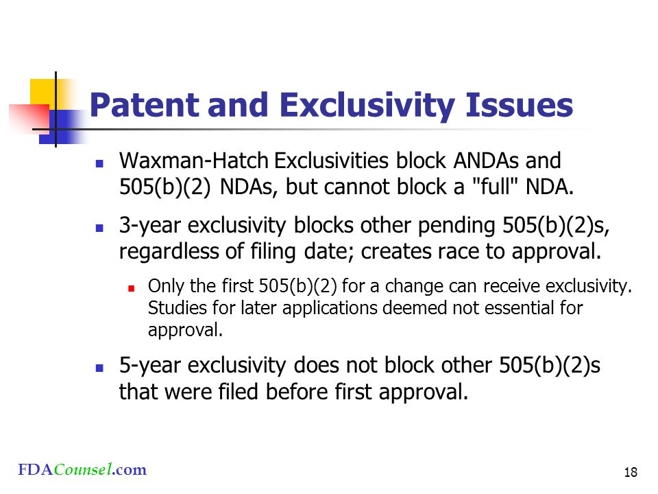 FDACounsel.com 18 Patent and Exclusivity Issues Waxman-Hatch Exclusivities block ANDAs and 505(b)(2) NDAs, but cannot block a
