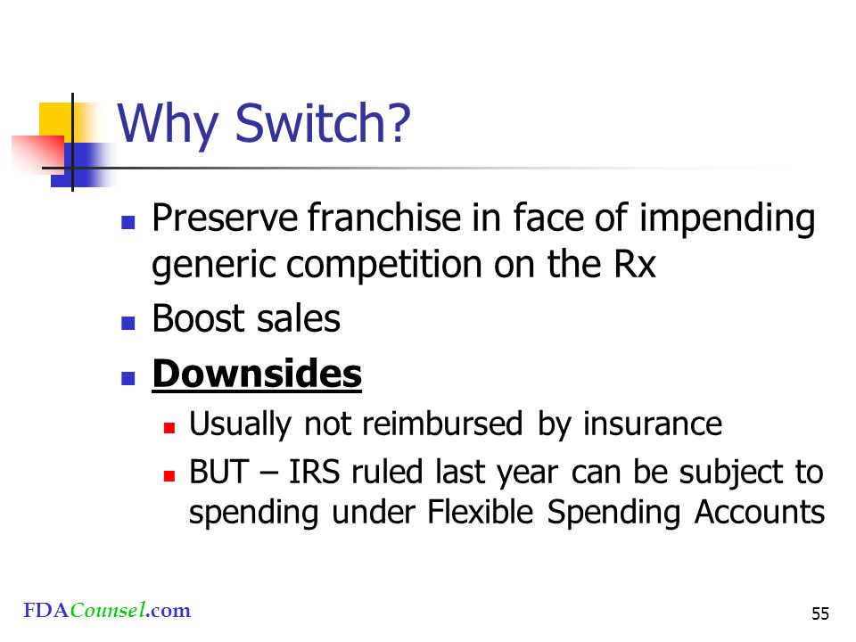 FDACounsel.com 55 Why Switch? Preserve franchise in face of impending generic competition on the Rx Boost sales Downsides Usually not reimbursed by in