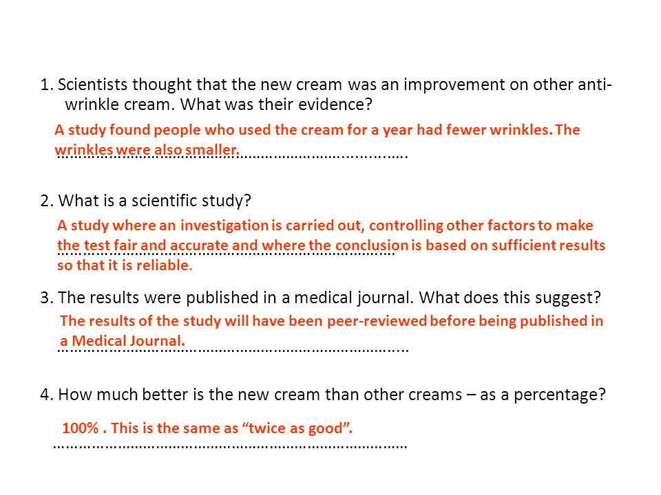 1.Scientists thought that the new cream was an improvement on other anti- wrinkle cream.