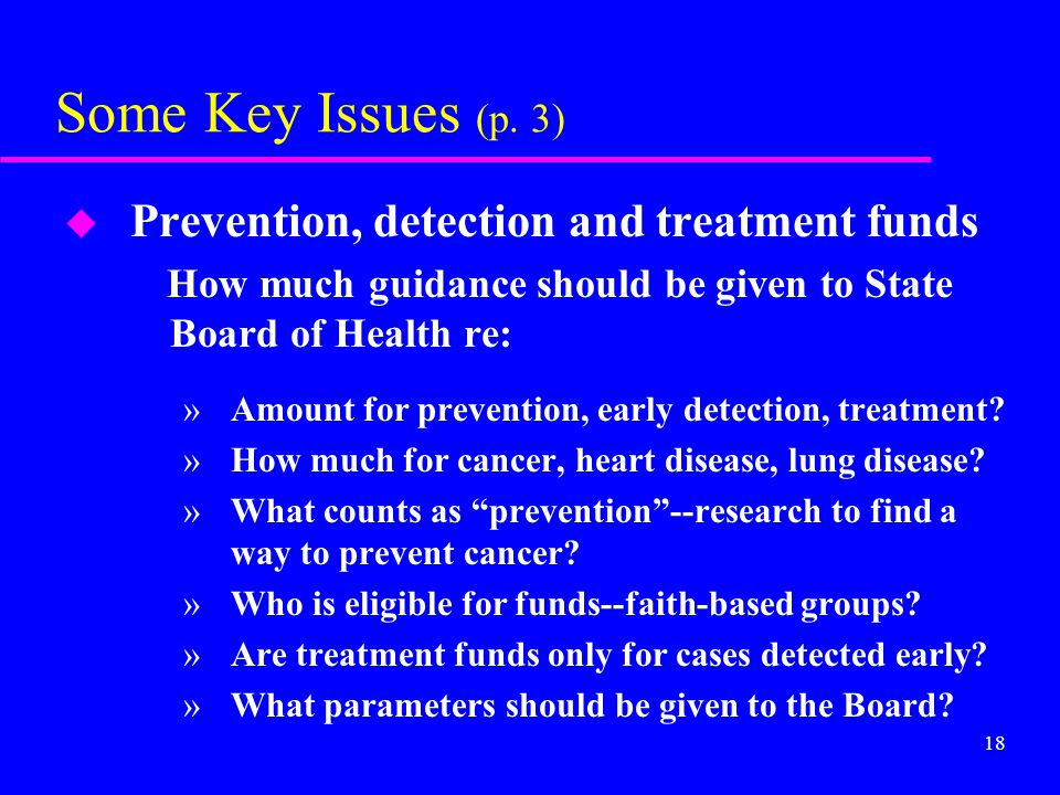 18 Some Key Issues (p. 3) u Prevention, detection and treatment funds How much guidance should be given to State Board of Health re: »Amount for preve