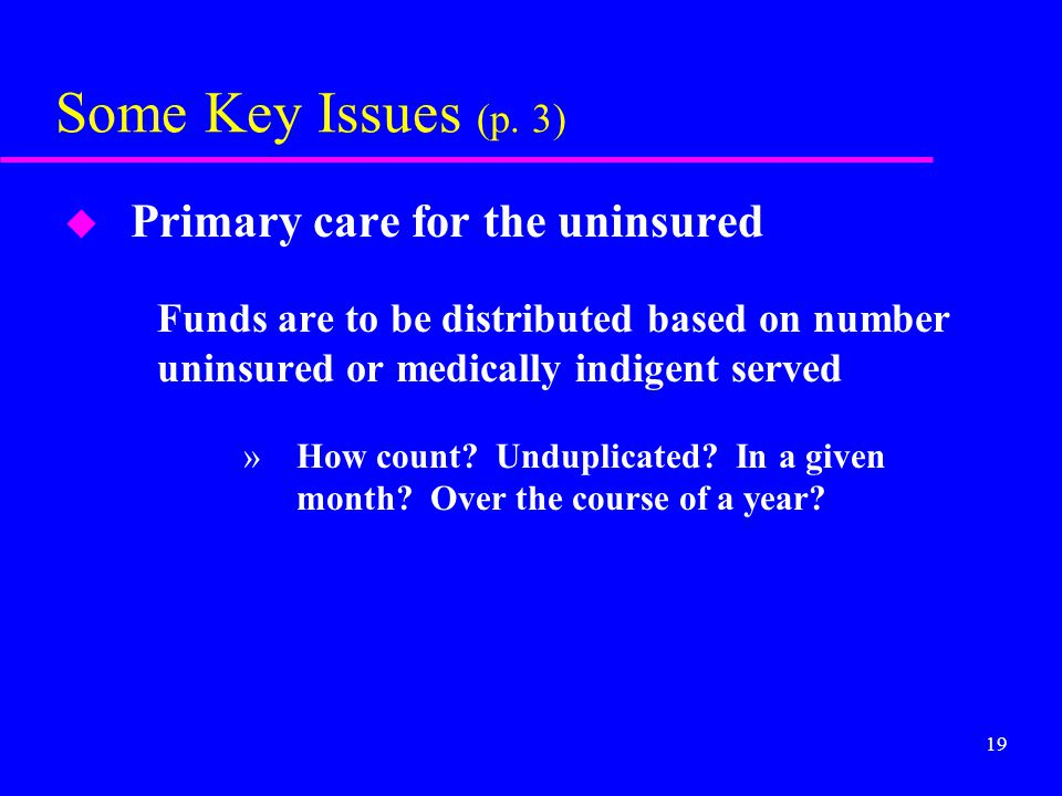 19 Some Key Issues (p. 3) u Primary care for the uninsured Funds are to be distributed based on number uninsured or medically indigent served »How cou