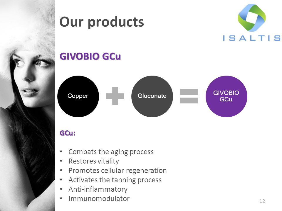 12 Our products GIVOBIO GCu GCu: Combats the aging process Restores vitality Promotes cellular regeneration Activates the tanning process Anti-inflammatory Immunomodulator CopperGluconate GIVOBIO GCu