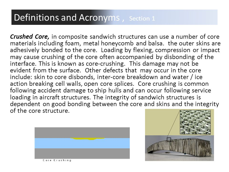 Crushed Core, in composite sandwich structures can use a number of core materials including foam, metal honeycomb and balsa. the outer skins are adhes