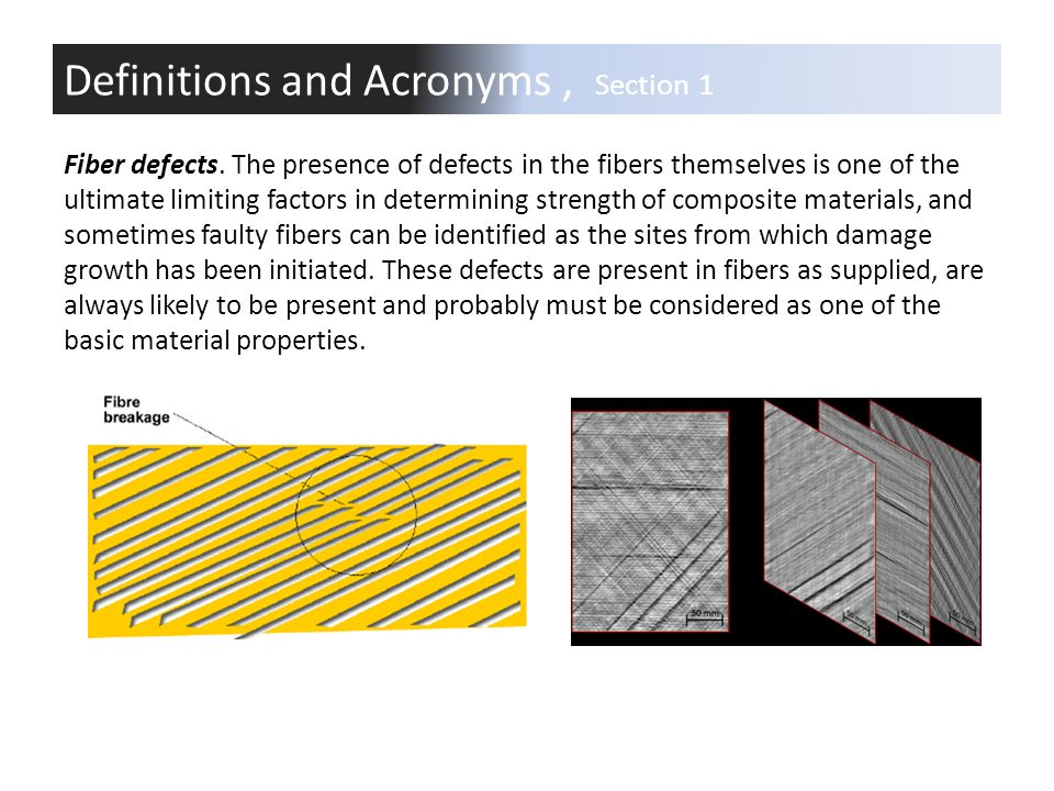 Fiber defects. The presence of defects in the fibers themselves is one of the ultimate limiting factors in determining strength of composite materials